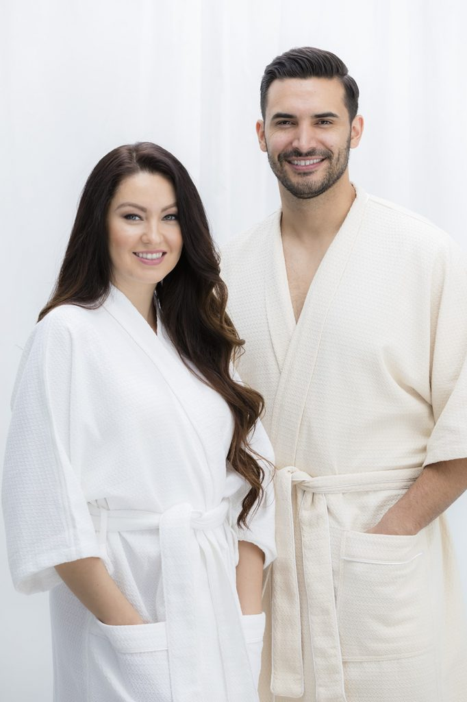 Sobel Bliss Urbana robe man and woman models in kimono luxury bathrobes