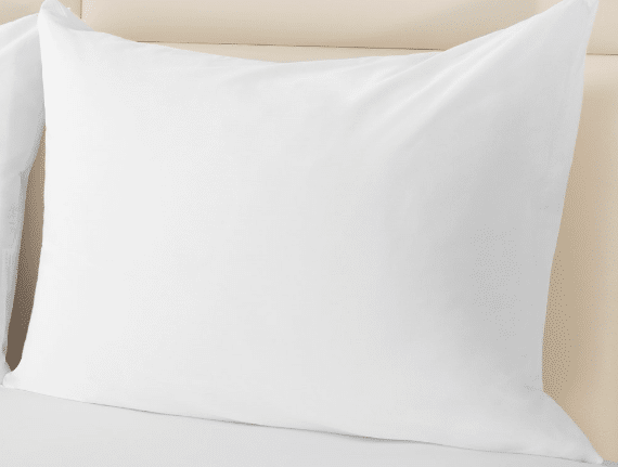 Sobel Westex pillow protector white on a hotel pillow
