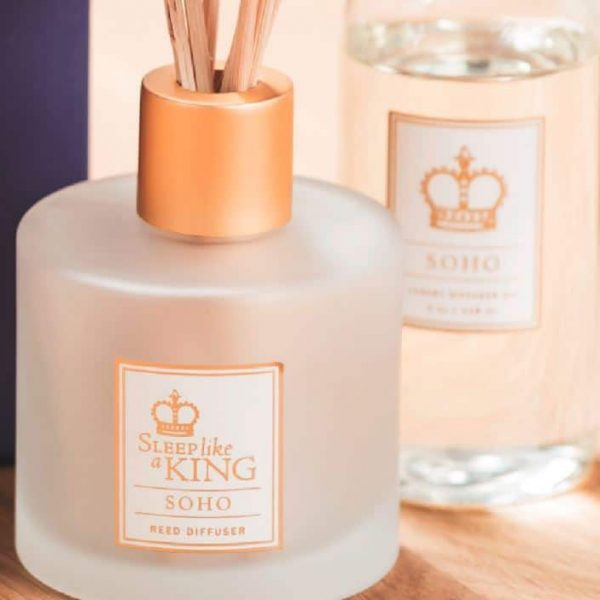 Sobel reed diffuser bottle with oil and reeds Soho aroma from Sleep Like a King collection