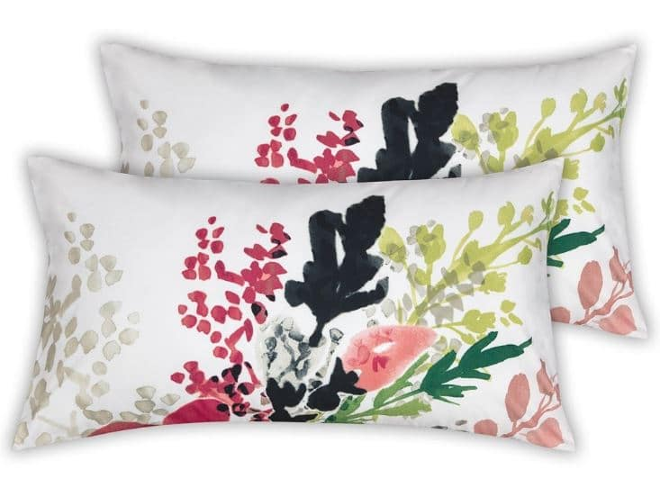 Two modern floral design pillows part of Sobel Euro-style floral comforter set