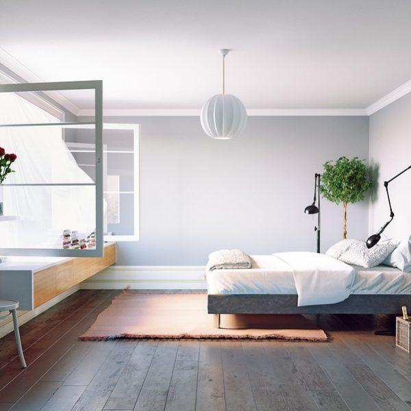 Modern bedroom interior with open window fresh air
