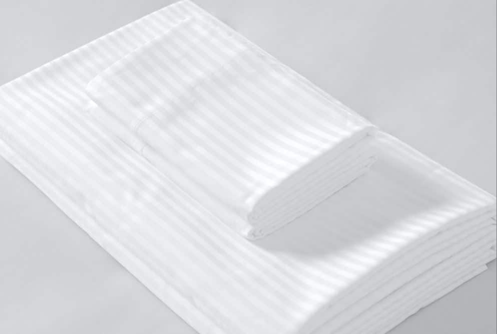 Sobelcale bedset folded showing executive style stripes in white