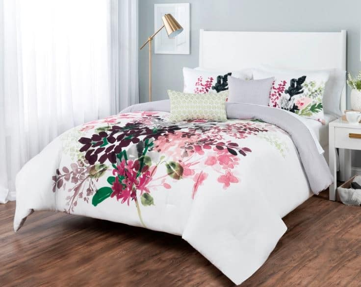 Sobel Westex floral bouquet luxury comforter set white with pink and green floral design