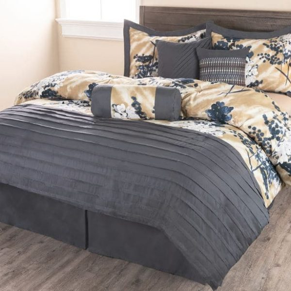 Sobel Westex Hana Dream comforter set in Asian pattern floral gold, blue and gray cover