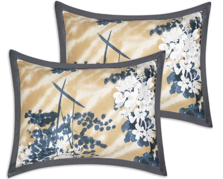 Sobel at Home Hana Dream comforter pillows in Asian floral blue, gold, white and gray