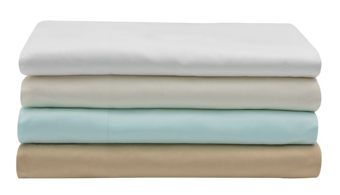 Egyptian Cotton Sheet Sets, pile of 4 colors folded bedsheets by Sobel Westex