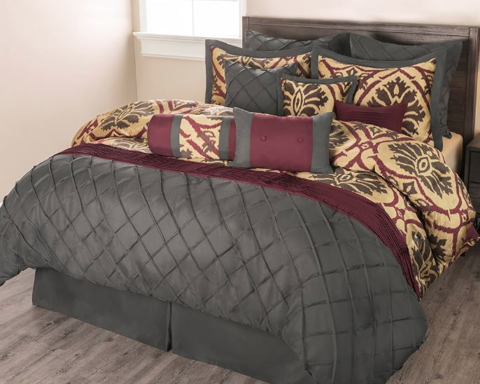 Gray,maroon, gold and olive green 11 piece VIno Rosso comforter set by Sobel Westex