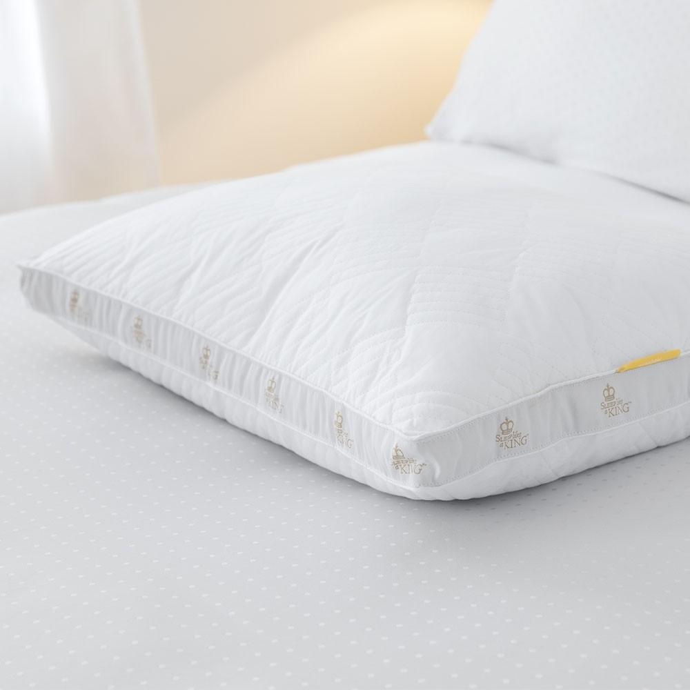 Sobel Westex Santorini cotton pillow white no pillowcase on hotel bed