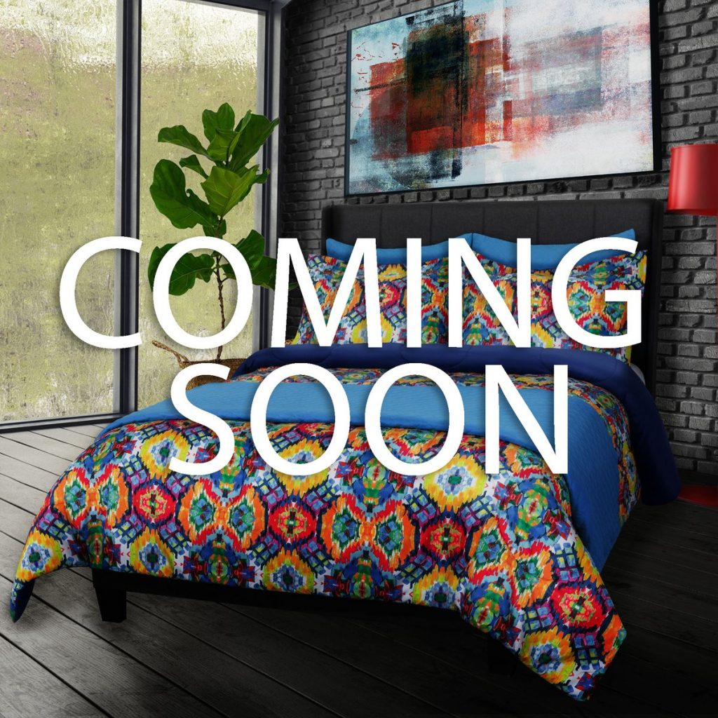"""Colorful primary colors Lifestyle comforter set collaboration series with David Bromstad for Sobel Westex labeled """"coming soon"""""""