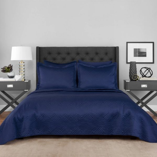 Lionel Richie Classic Navy Comforter Set in deep blues with matching pillowcases and shams