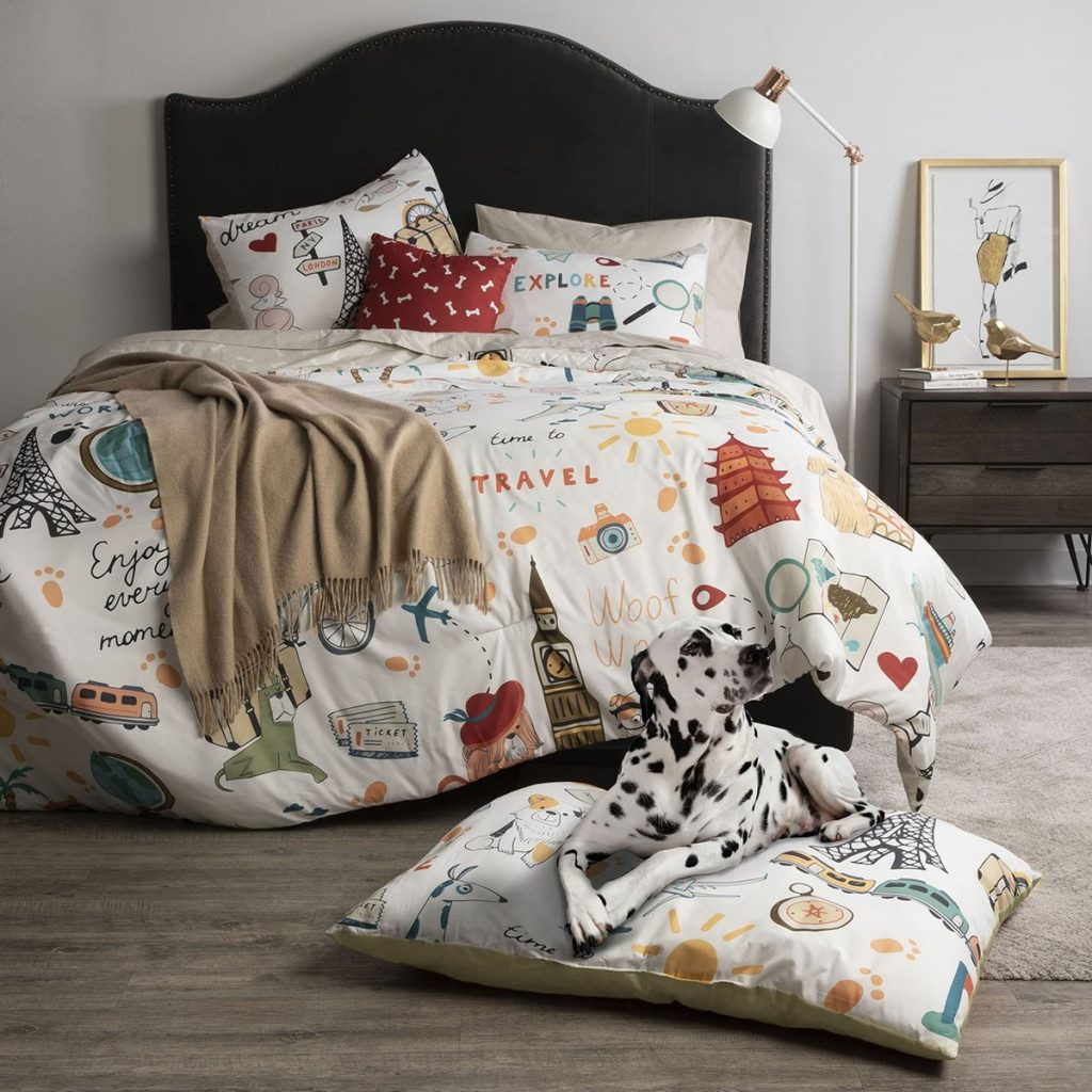 Travel themed comforter set by Sobel Westex with throw pillow and matching dog bed