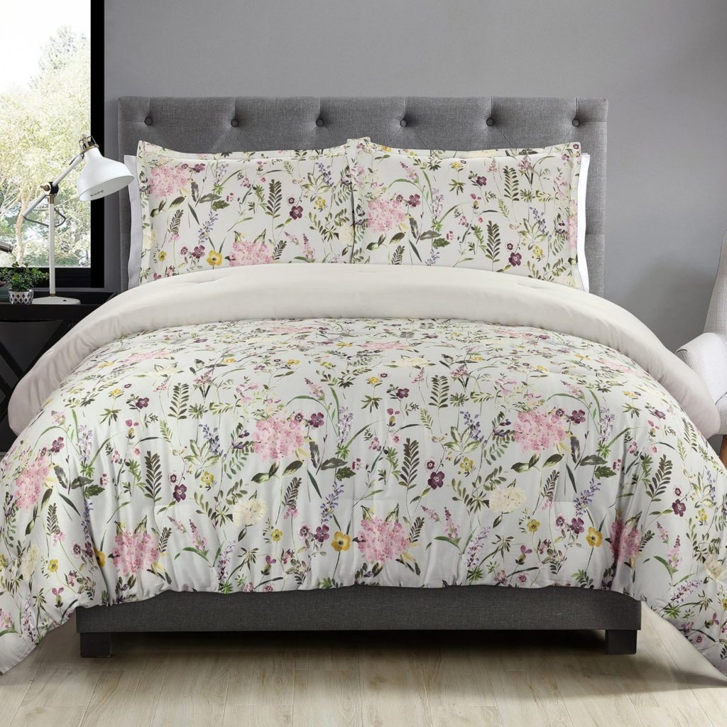 Collaborative Collections Duchess April Bouquet comforter set light green and pink flowers o white displayed on a queen size bed