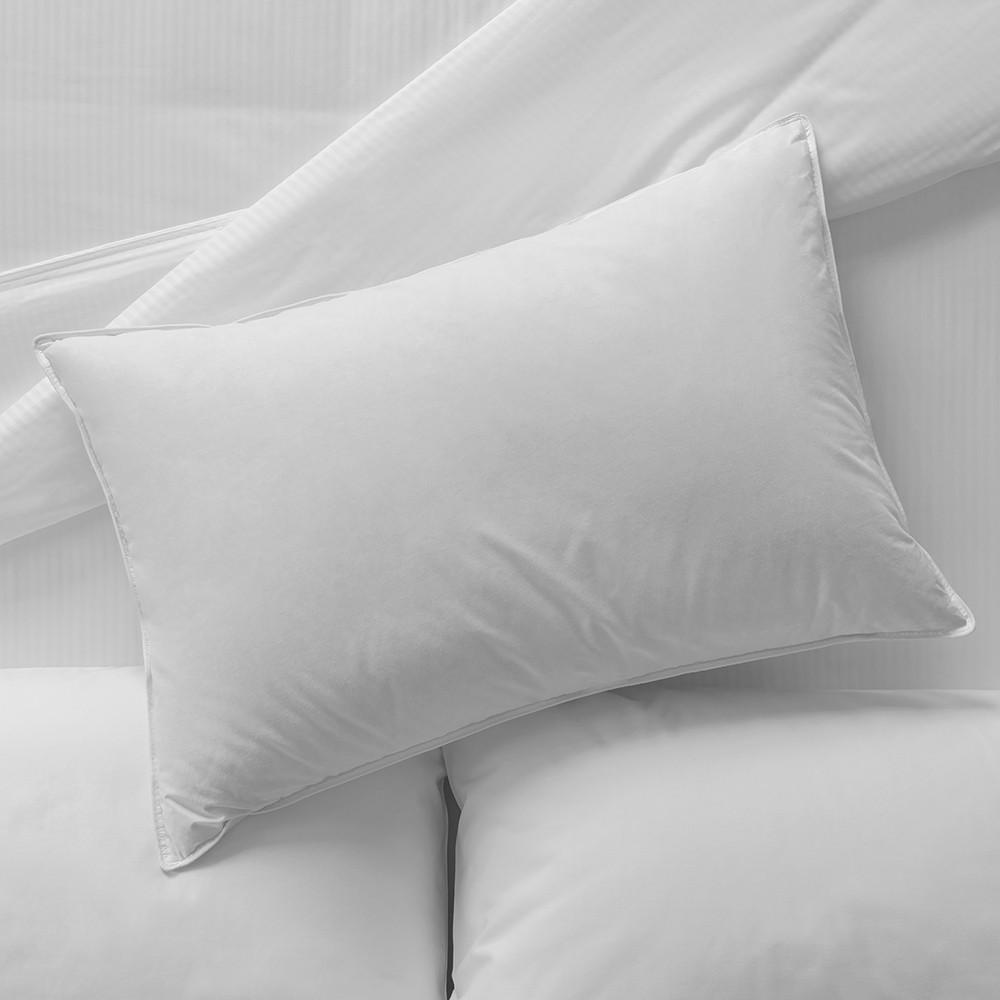 Sobel Westex Bellazure down pillows on whilte hotel sheets