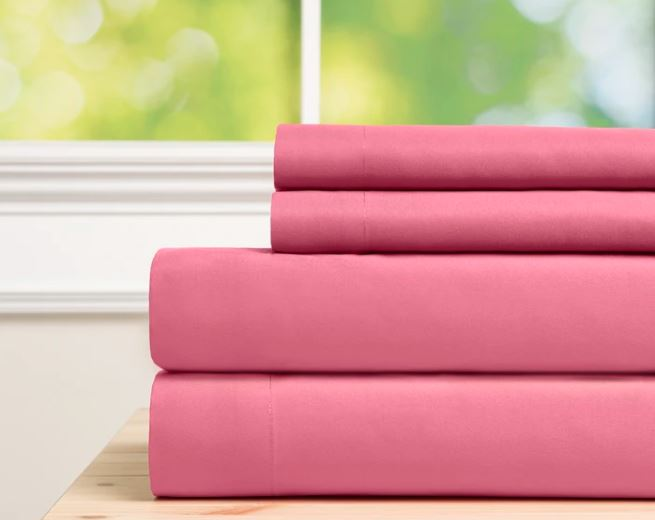 Sobel Westex Baltic line hot pink microfiber sheet set stacked set of four pieces - fitted sheet, top sheet, two pillowcases