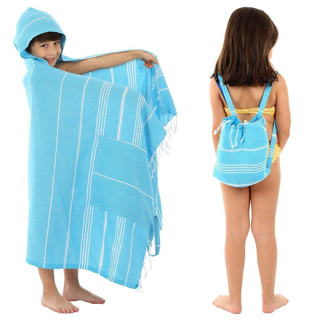 Pure Elegance beach backpack in turquoise modeled by boy and girl
