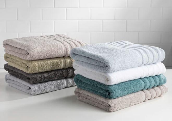 Sobel Westex Turkish Towel plush bath towels stacked in nine colors