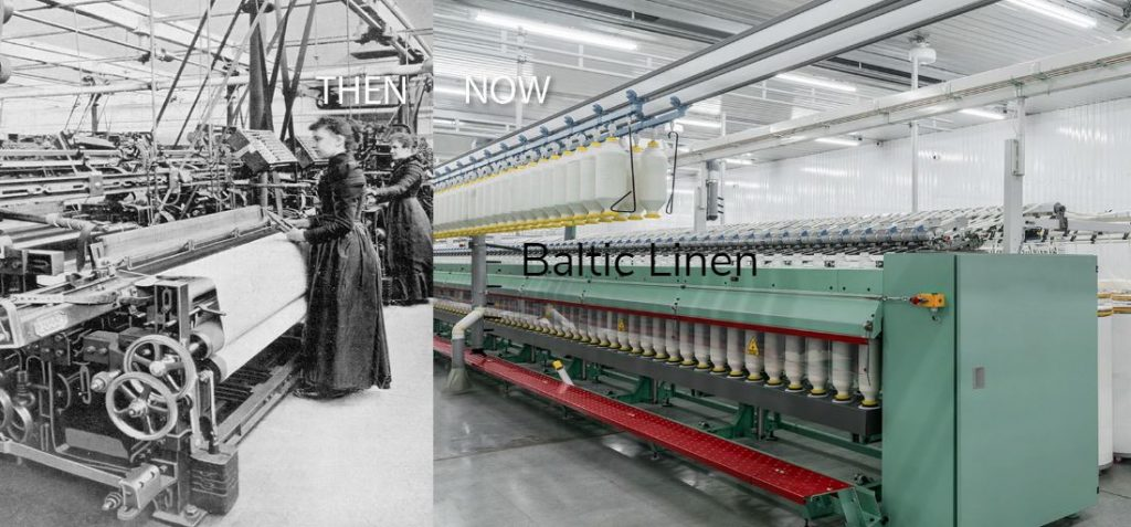 Baltic LInen factory in 1930s with women workers at weaving machinesand now old and today modern automated American textile fabory