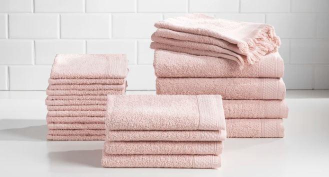 Baltic Linen 24 piece Belvedere towel set in pink folded display