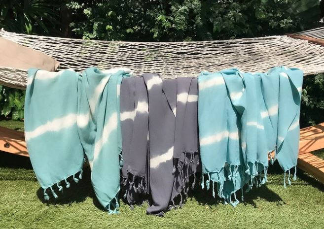 Casual beach tie die turkish towel cotton blue and white and gray and white